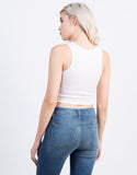 Back View of Lace Up Ribbed Crop Tank