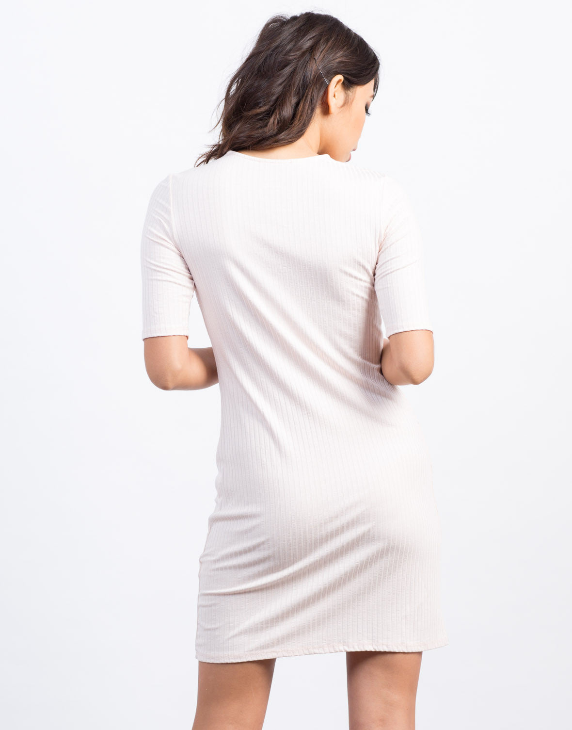 Back View of Lace-Up Ribbed Dress