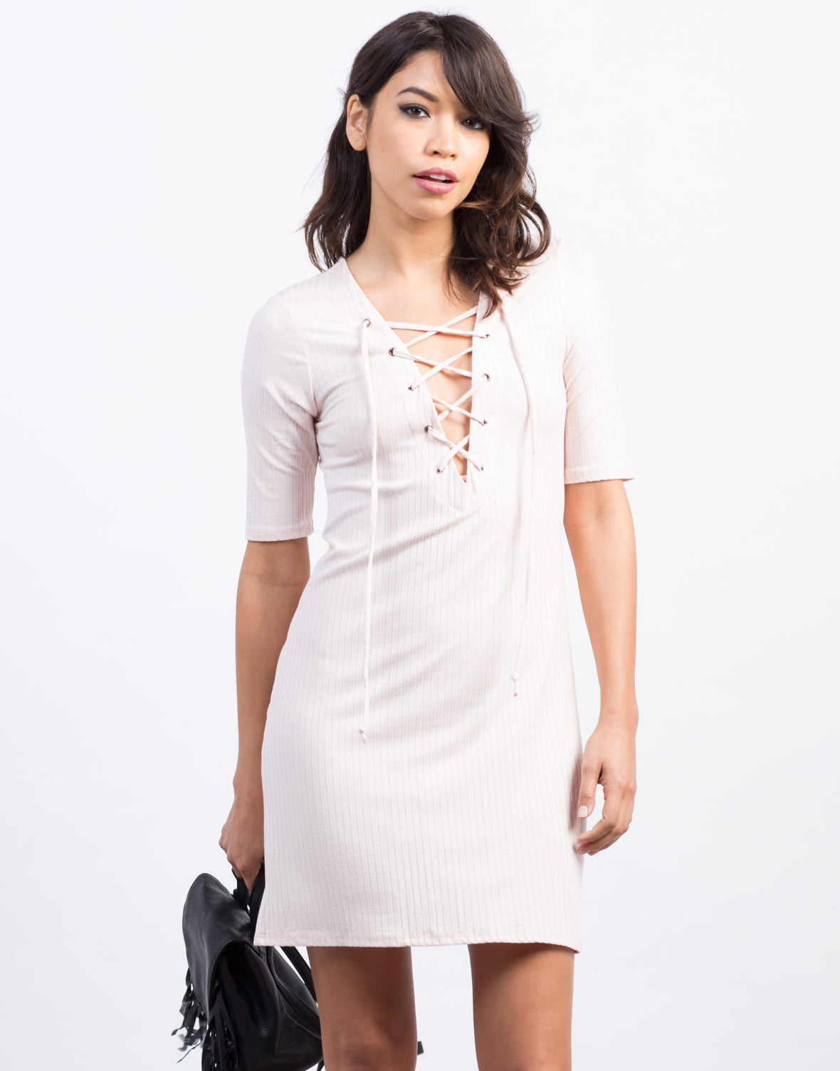 Front View of Lace-Up Ribbed Dress