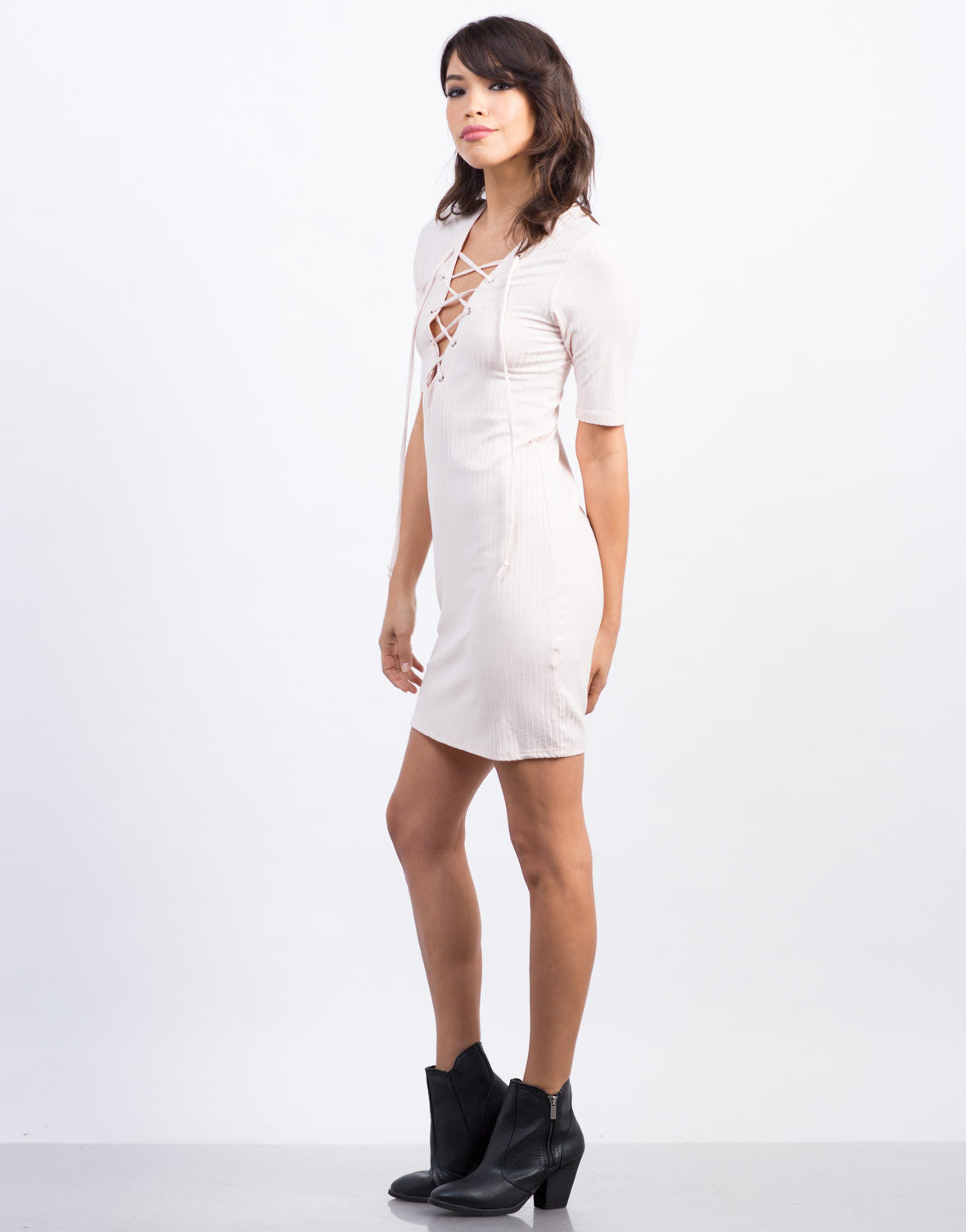 Side View of Lace-Up Ribbed Dress