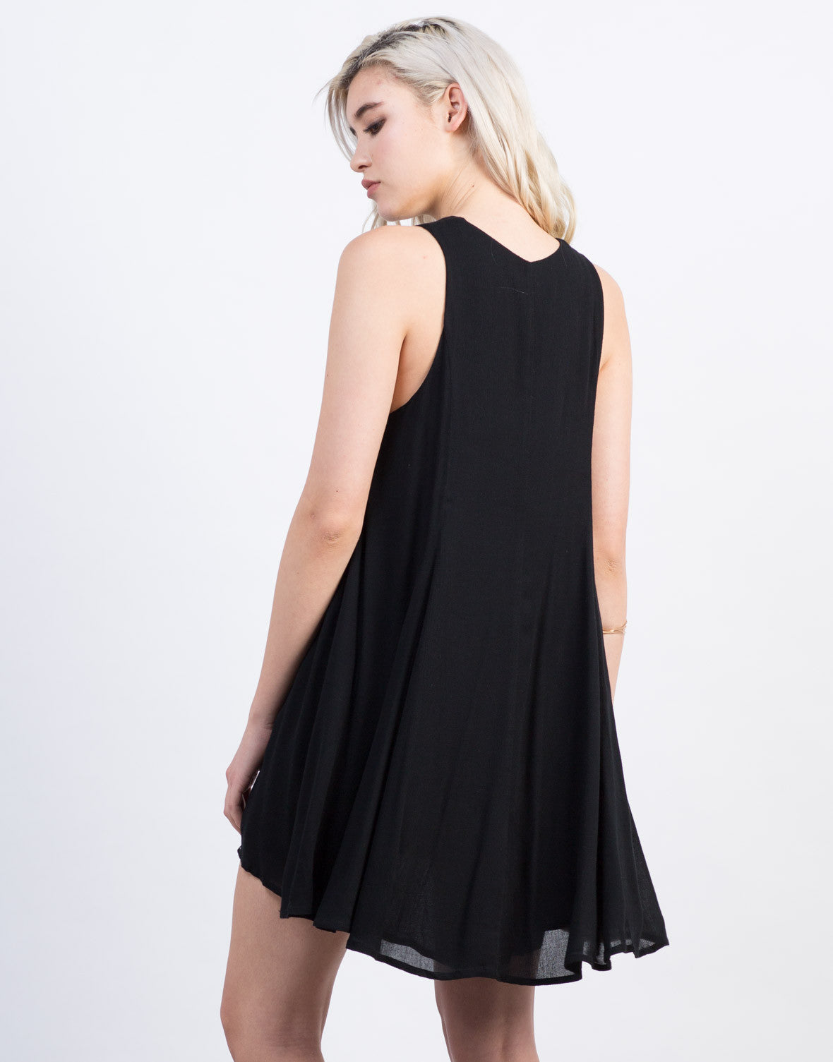 Back View of Lace-Up Shift Dress