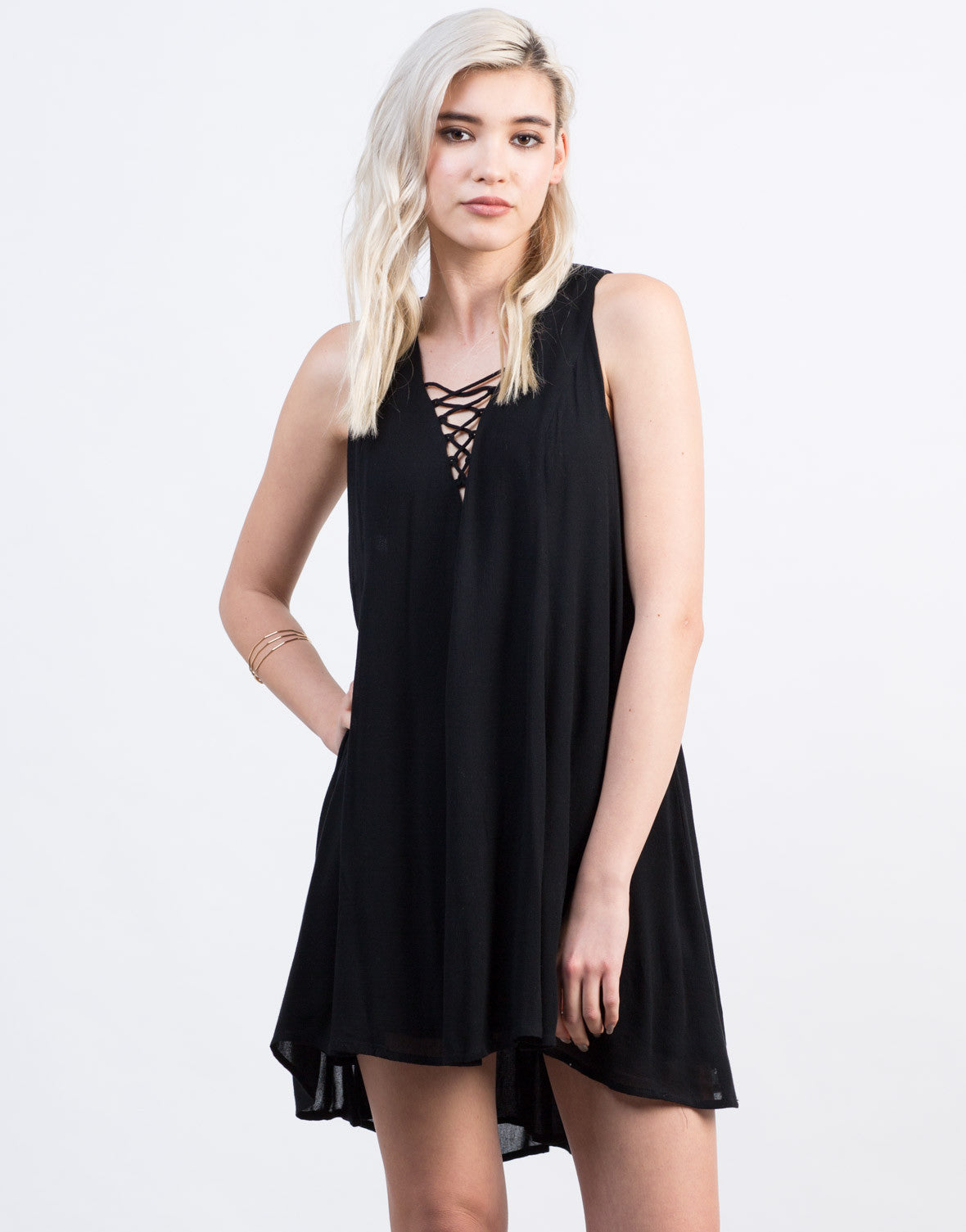 Front View of Lace-Up Shift Dress
