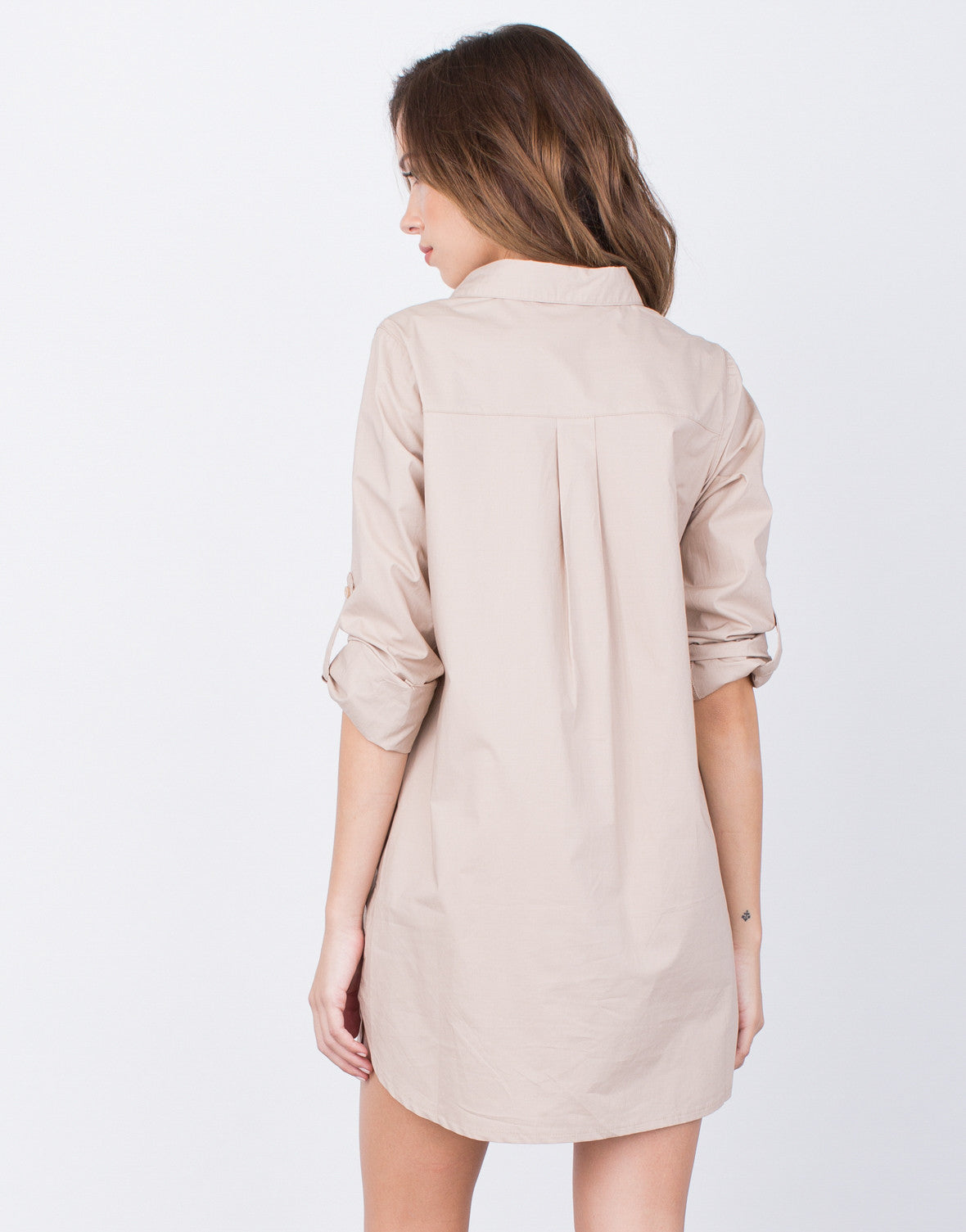 Back View of Lace-Up Shirt Dress