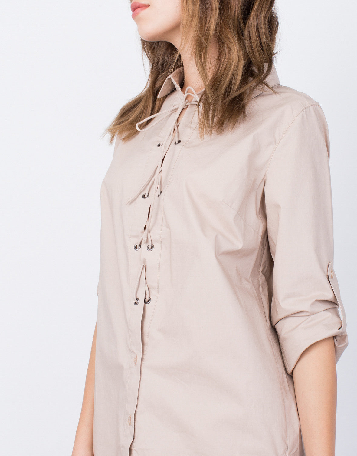 Detail of Lace-Up Shirt Dress
