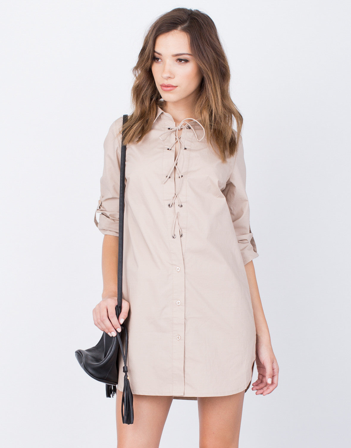 Front View of Lace-Up Shirt Dress