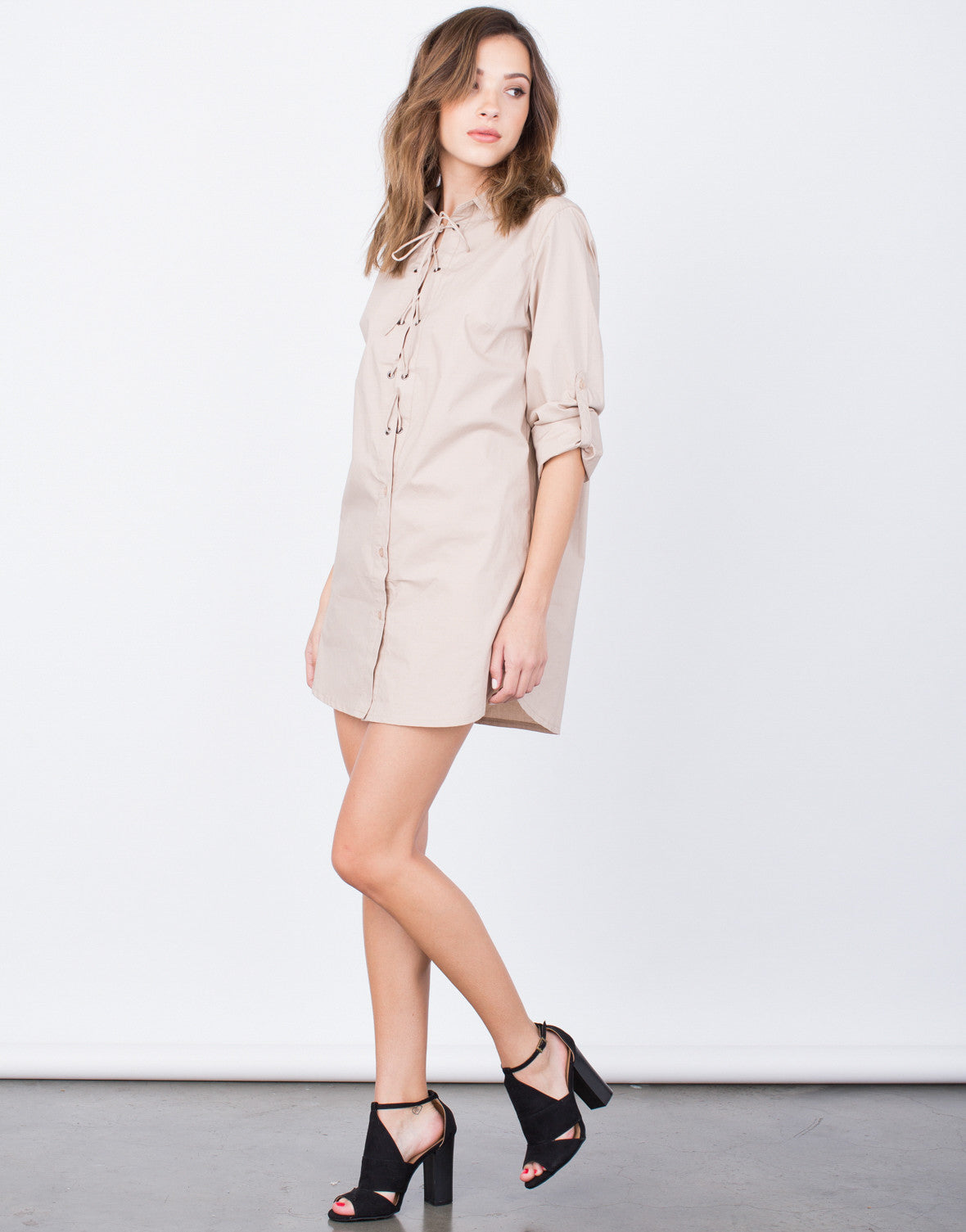 Side View of Lace-Up Shirt Dress