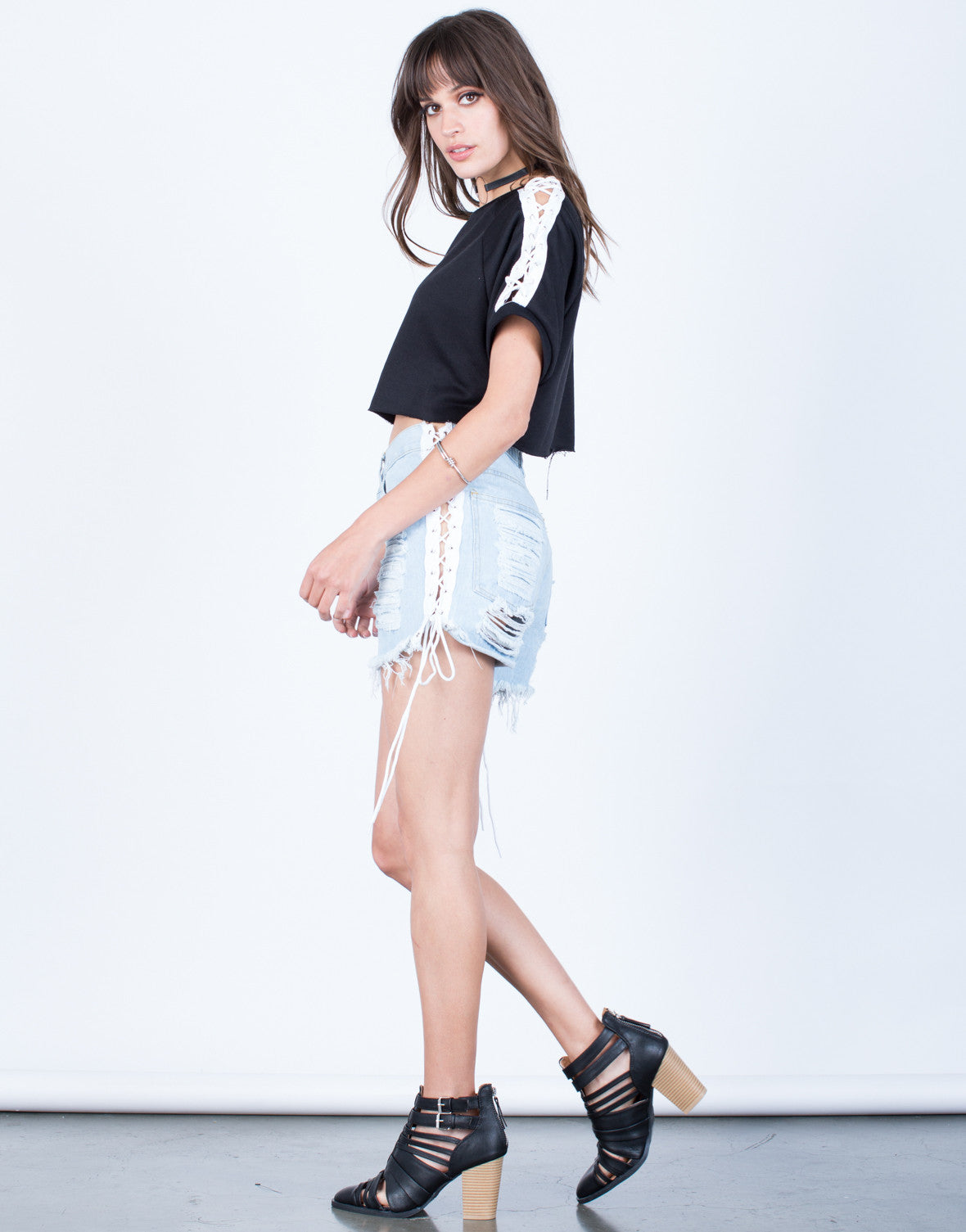 Side View of Lace-Up Sleeves Cropped Tee