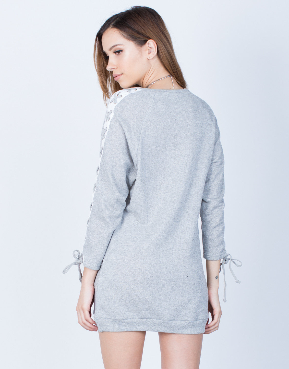 Back View of Lace-Up Sleeves Dress