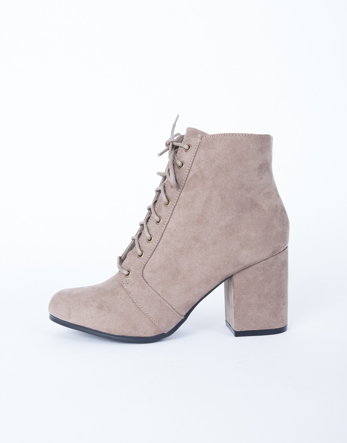 Lace-Up Suede Booties