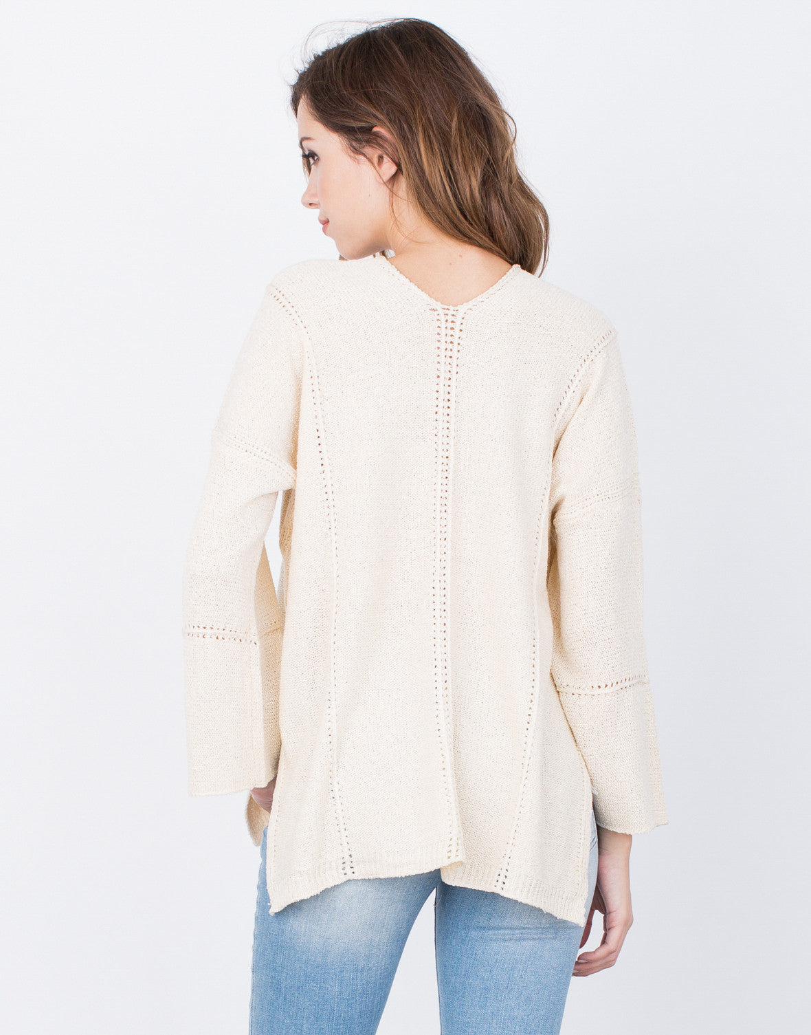 Back View of Lace-Up Sweater Top