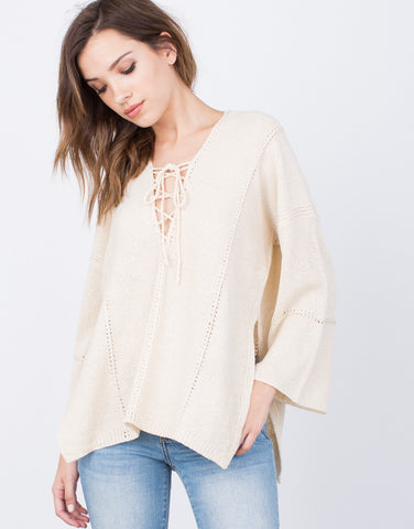 Detail of Lace-Up Sweater Top