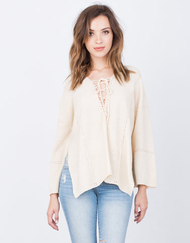 Front View of Lace-Up Sweater Top