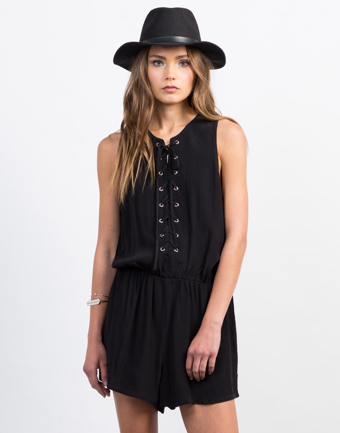 Front View of Lace-Up Tank Romper