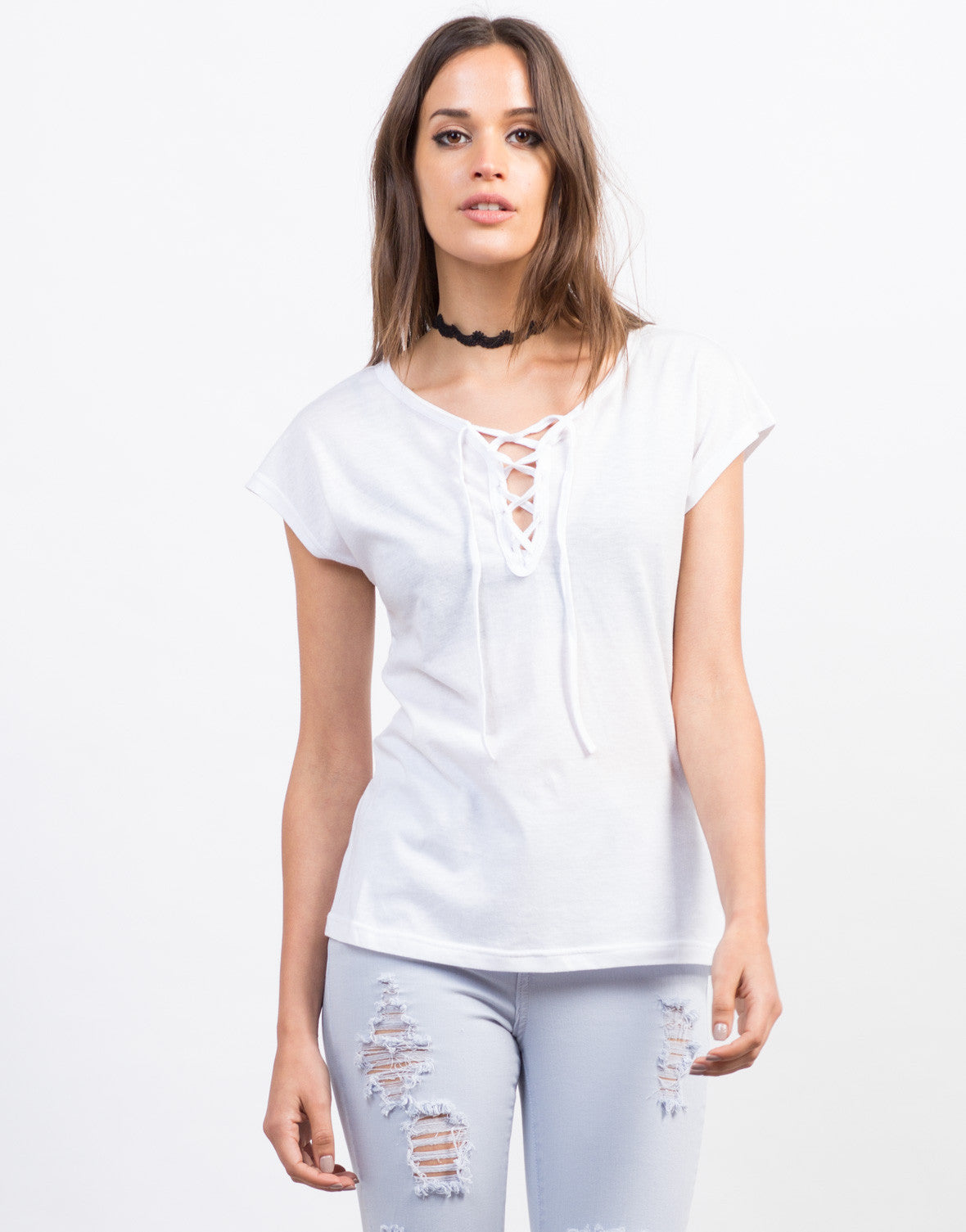 Front View of Lace-Up Tee