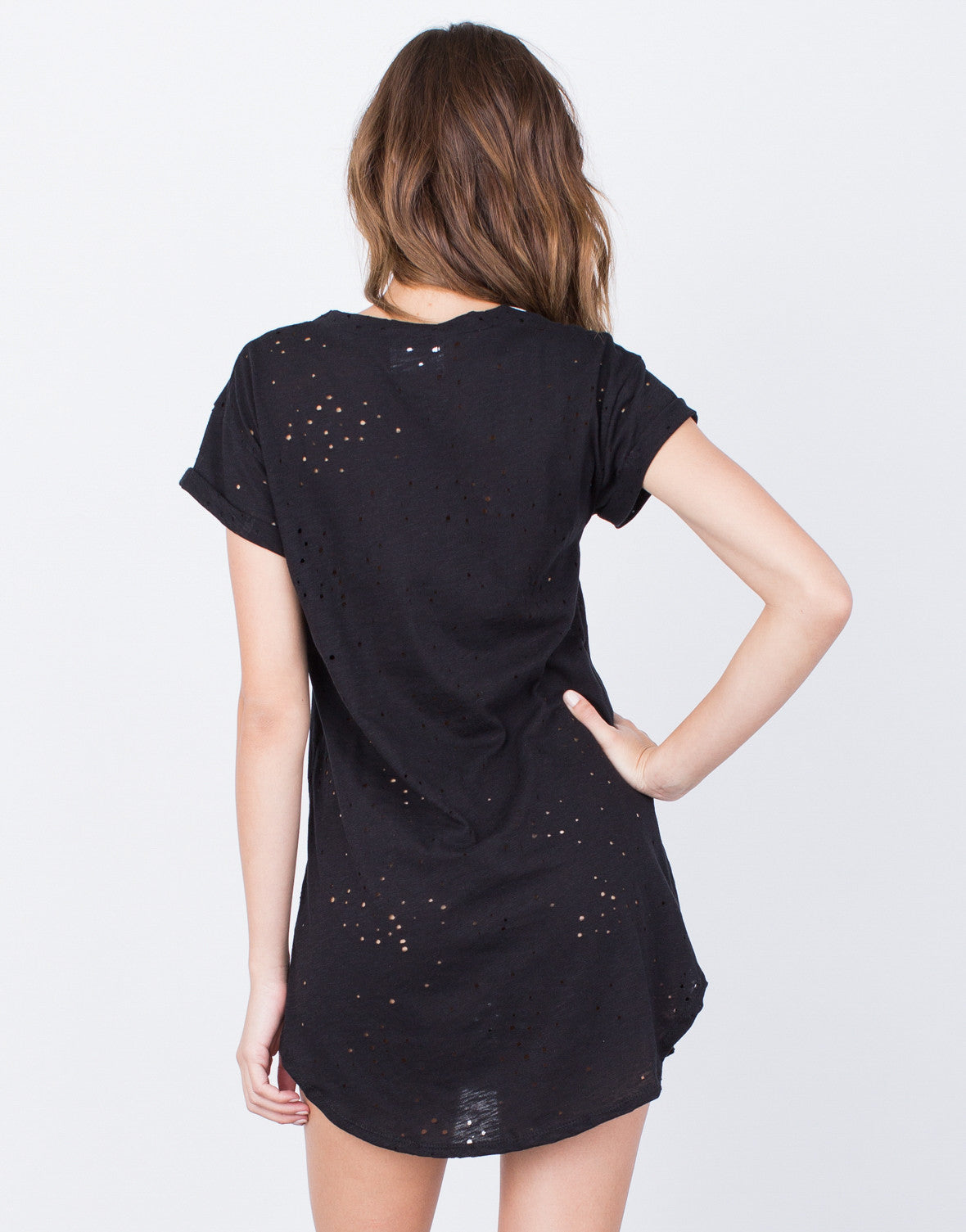 Back View of Lace-Up Tunic Dress