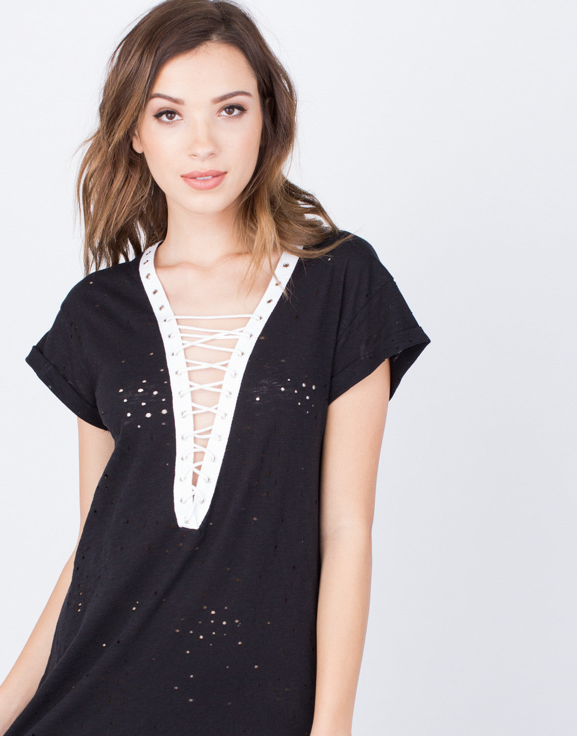 Detail of Lace-Up Tunic Dress