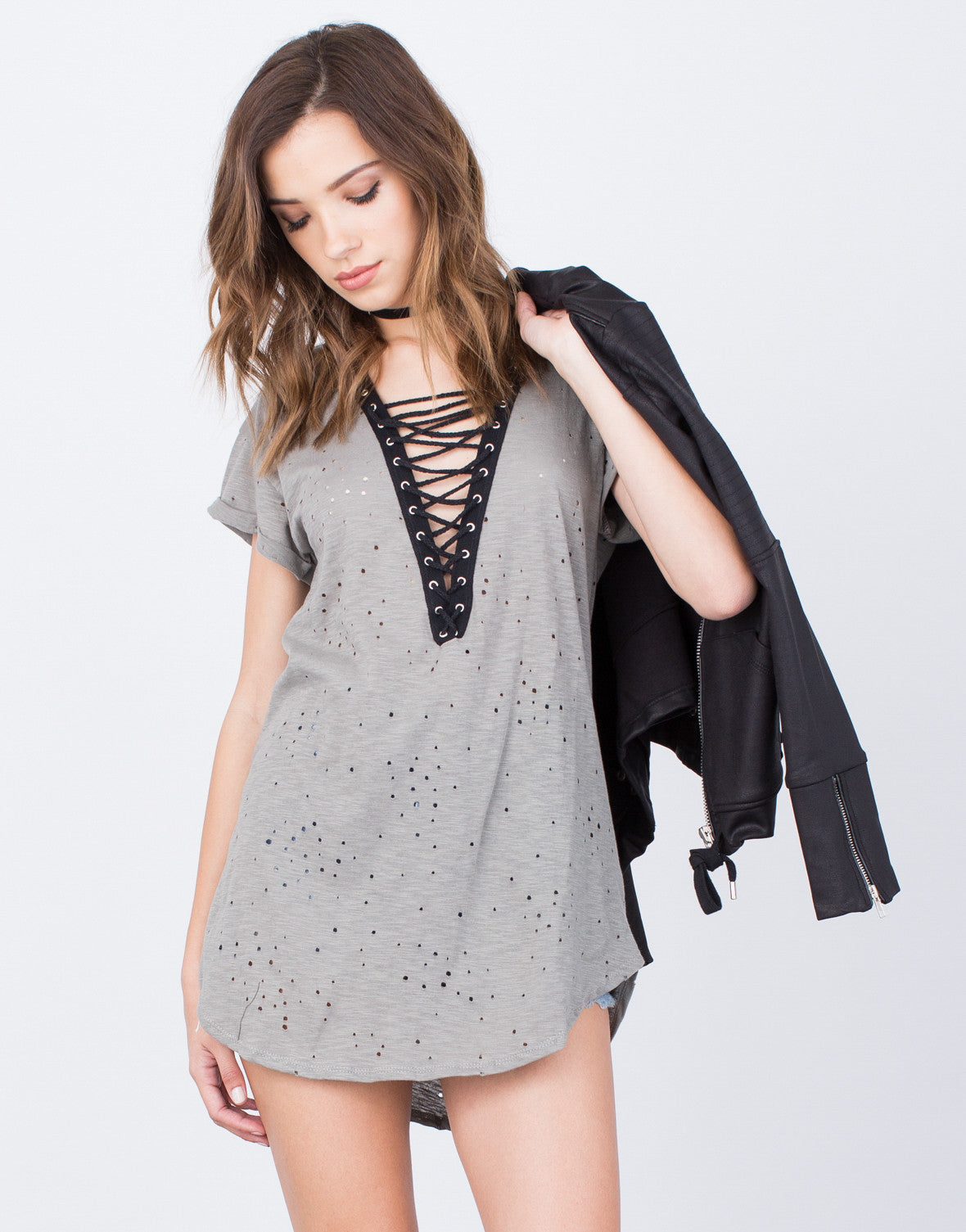 Front View of Lace-Up Tunic Dress