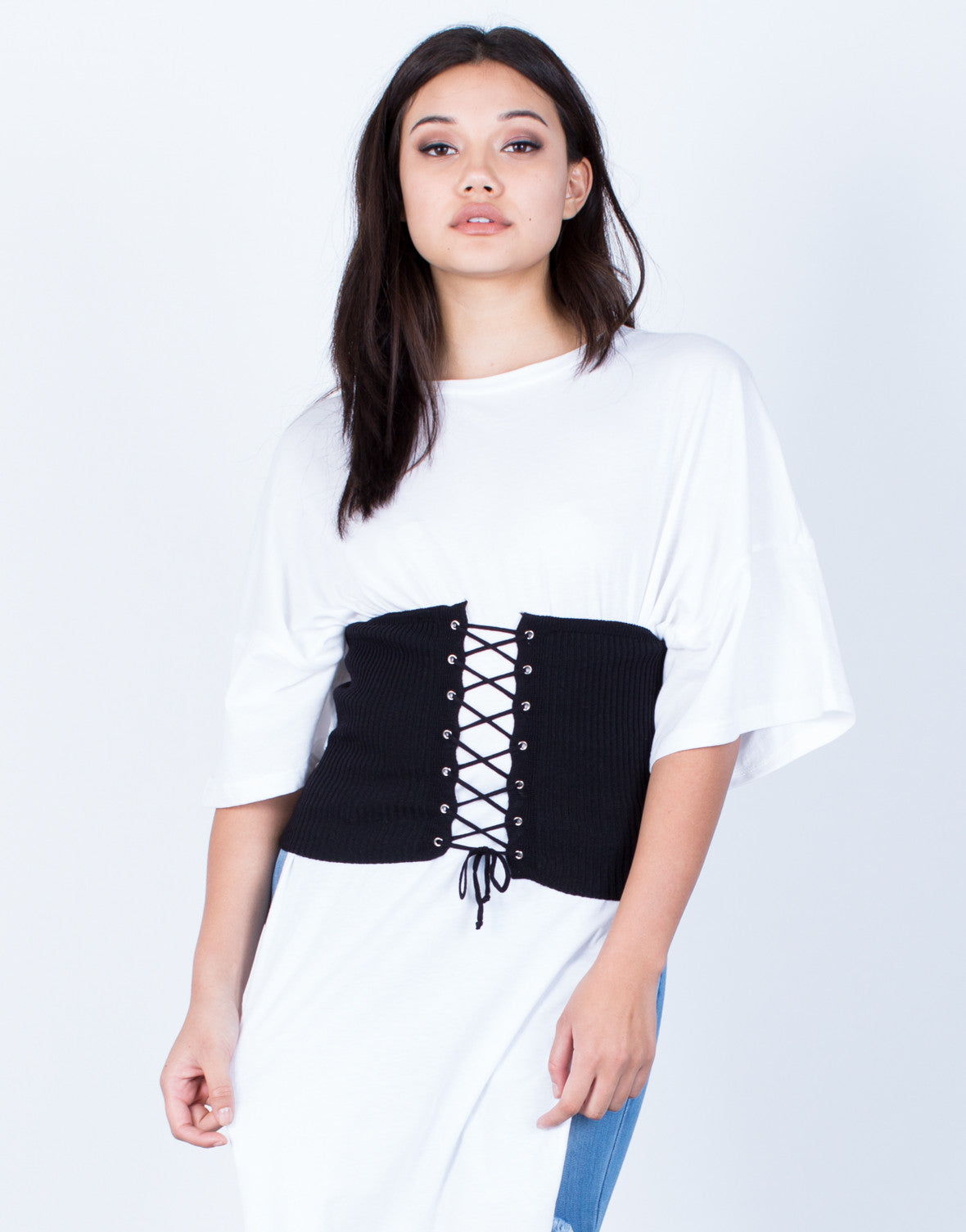 Front View of Lace-Up Waist Belt Top