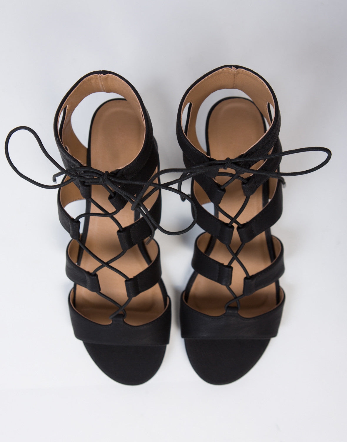 Lace-Up Wedge Sandals - Leather Lace Up