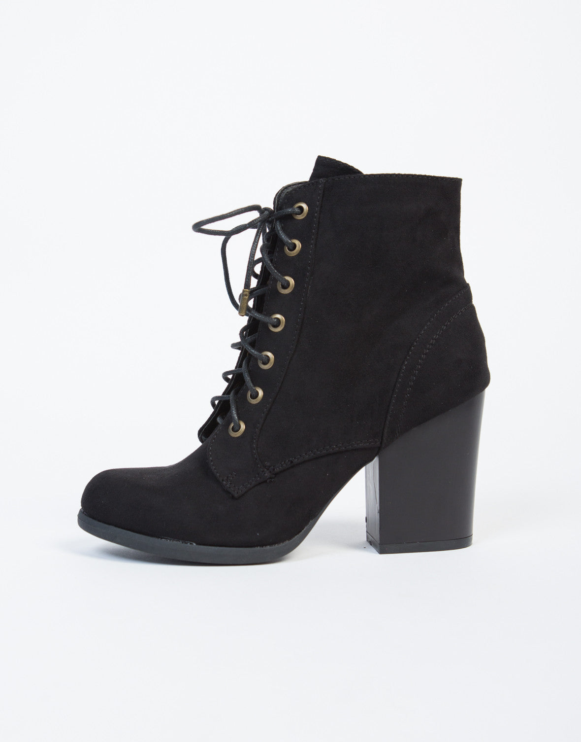 Lace-Up Wooden Heel Ankle Boots - Brown Leather Boots - Black