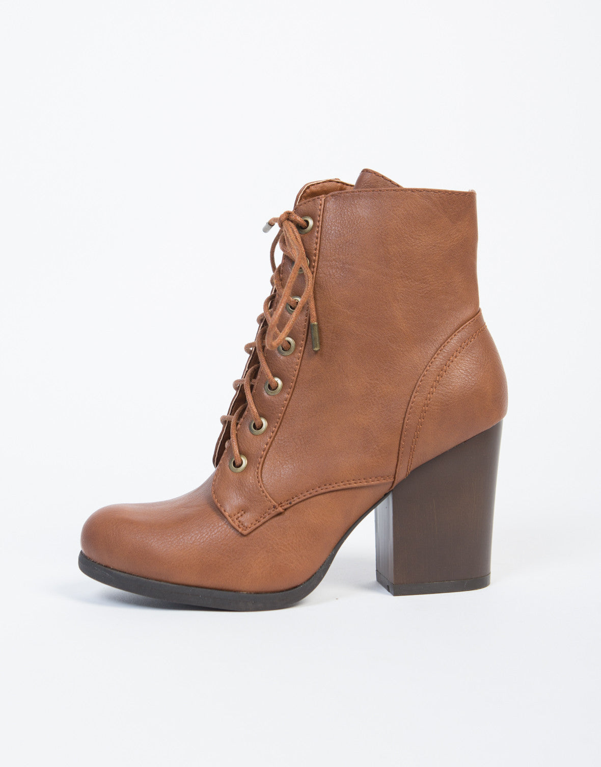 Lace Up Wooden Heel Ankle Boots