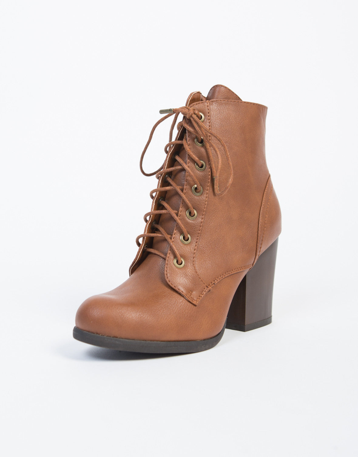 Lace-Up Wooden Heel Ankle Boots - 2020AVE