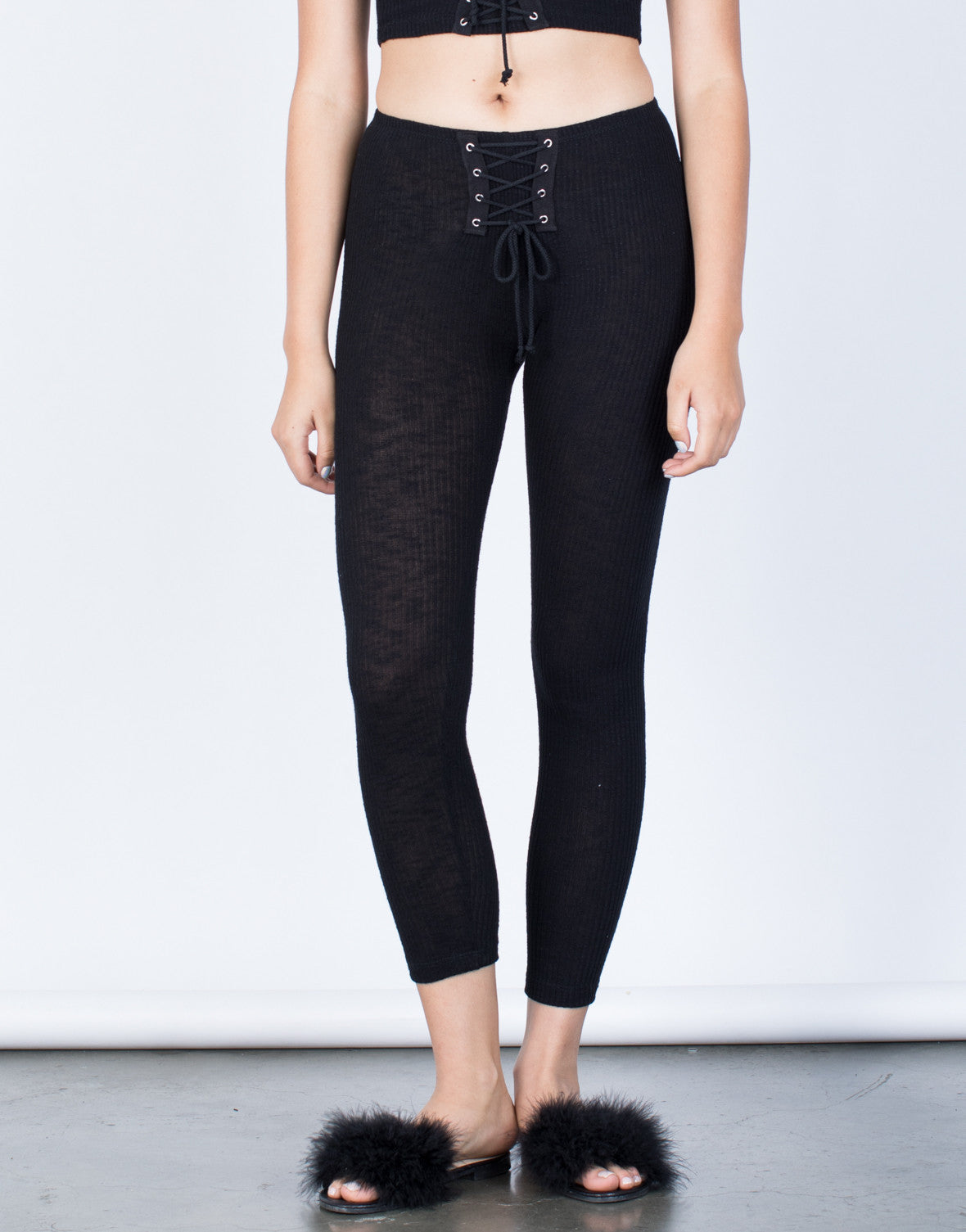 Front View of Laced and Tied Leggings