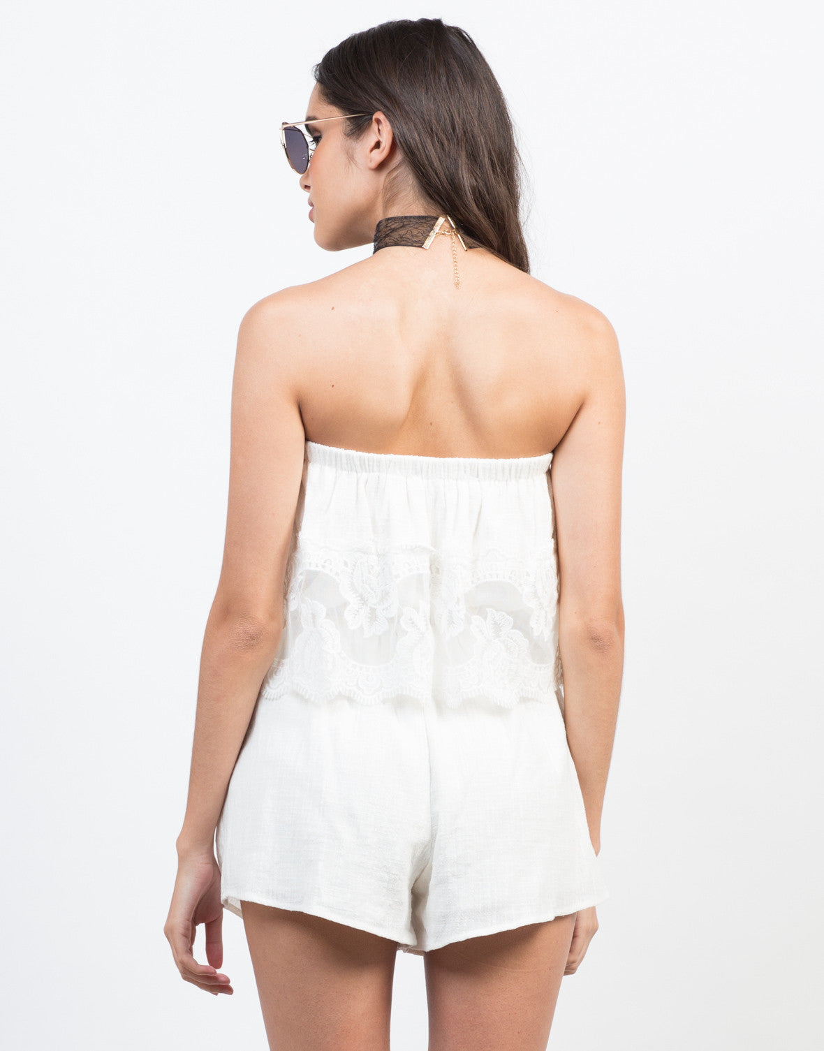Back View of Laced in Love Tiered Romper