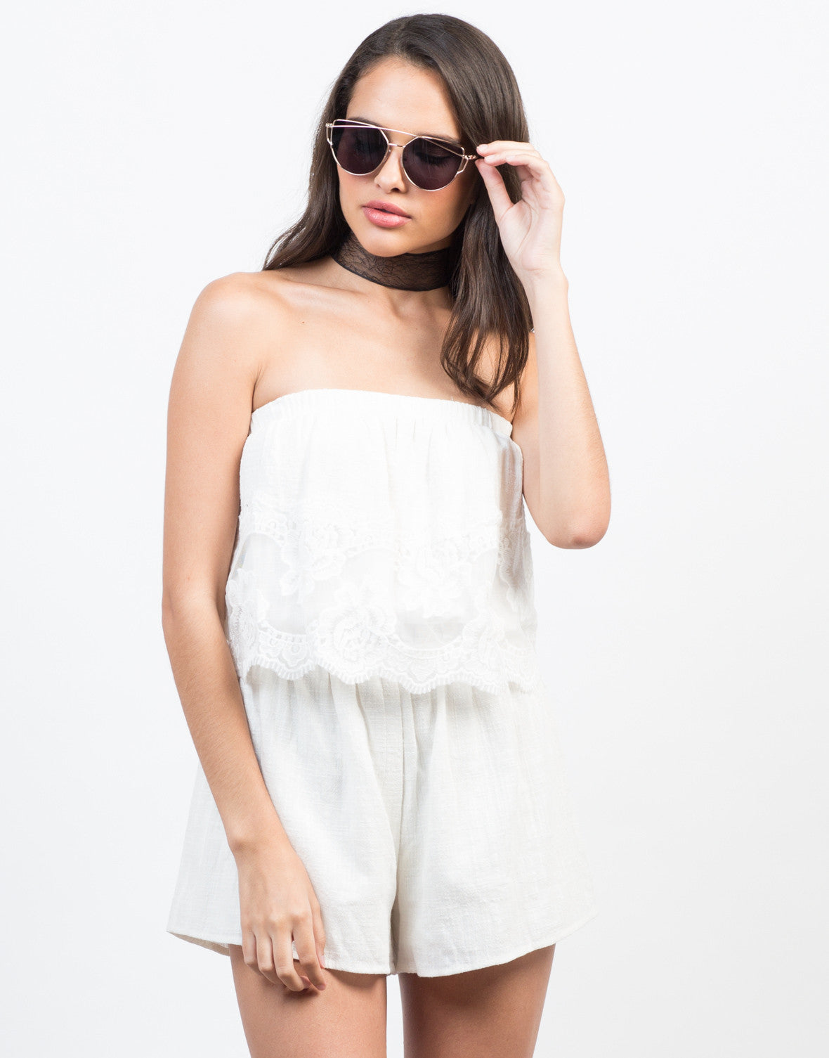 Front View of Laced in Love Tiered Romper