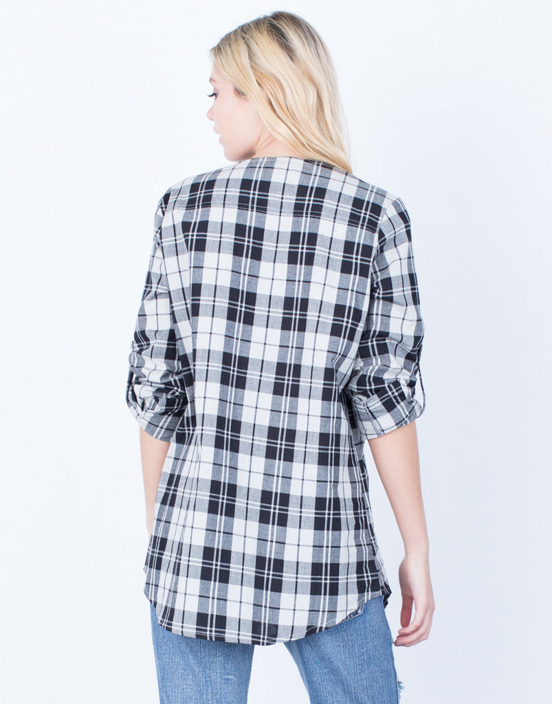 Back View of Laced in Plaid Tunic