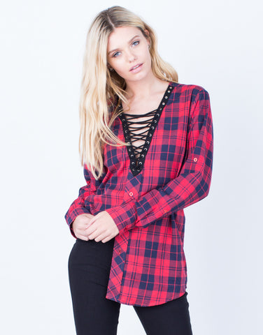 Front View of Laced in Plaid Tunic