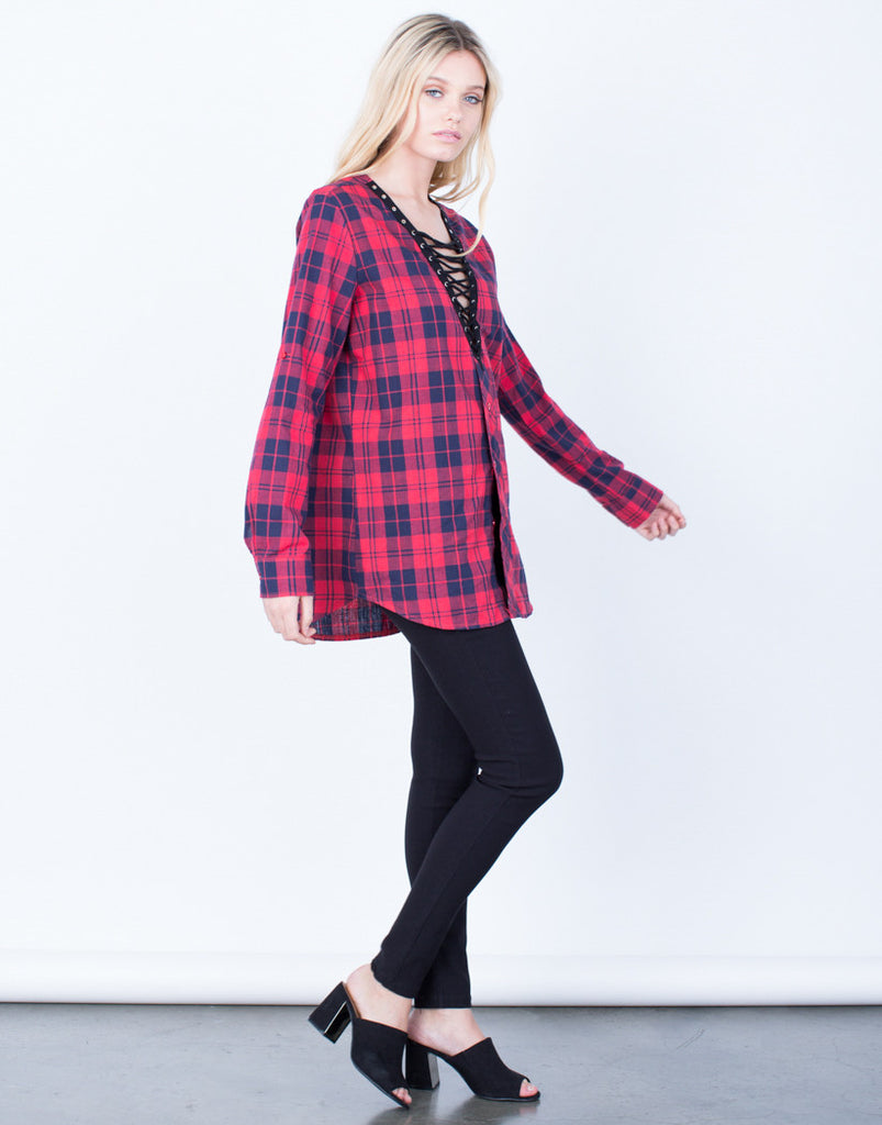 Side View of Laced in Plaid Tunic