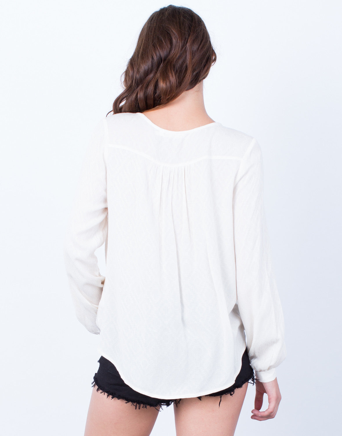 Back View of Laced Up Wrap Blouse