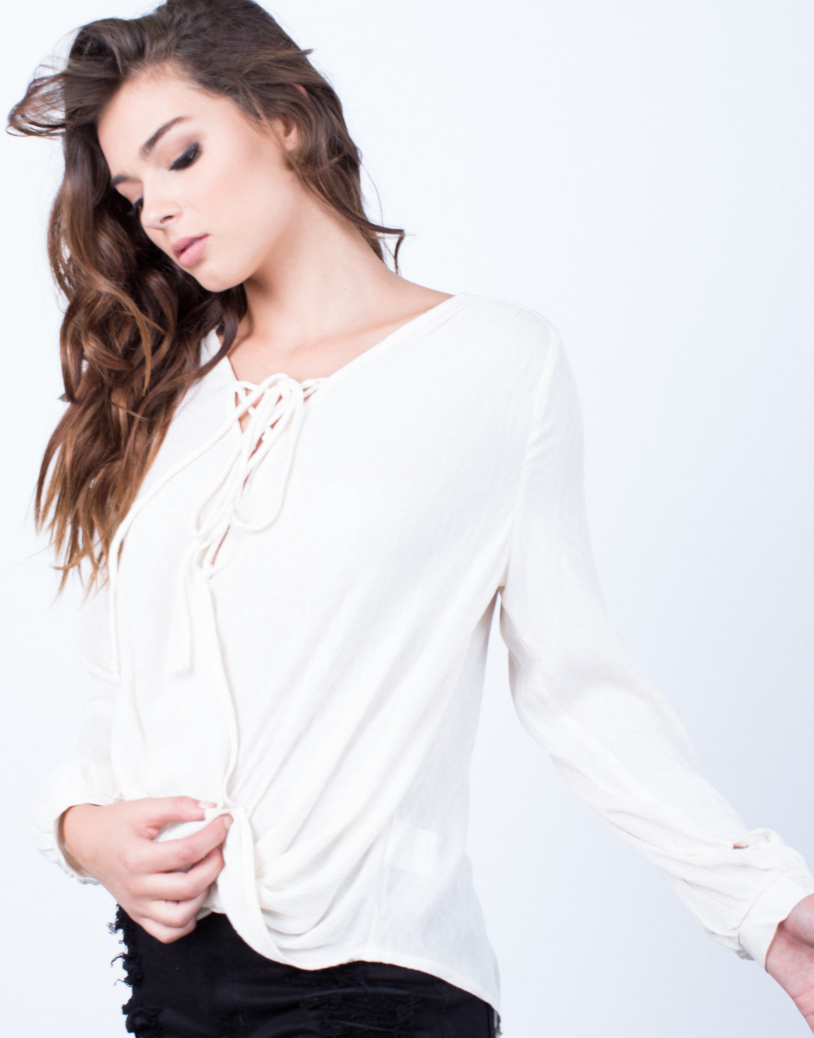 Detail of Laced Up Wrap Blouse