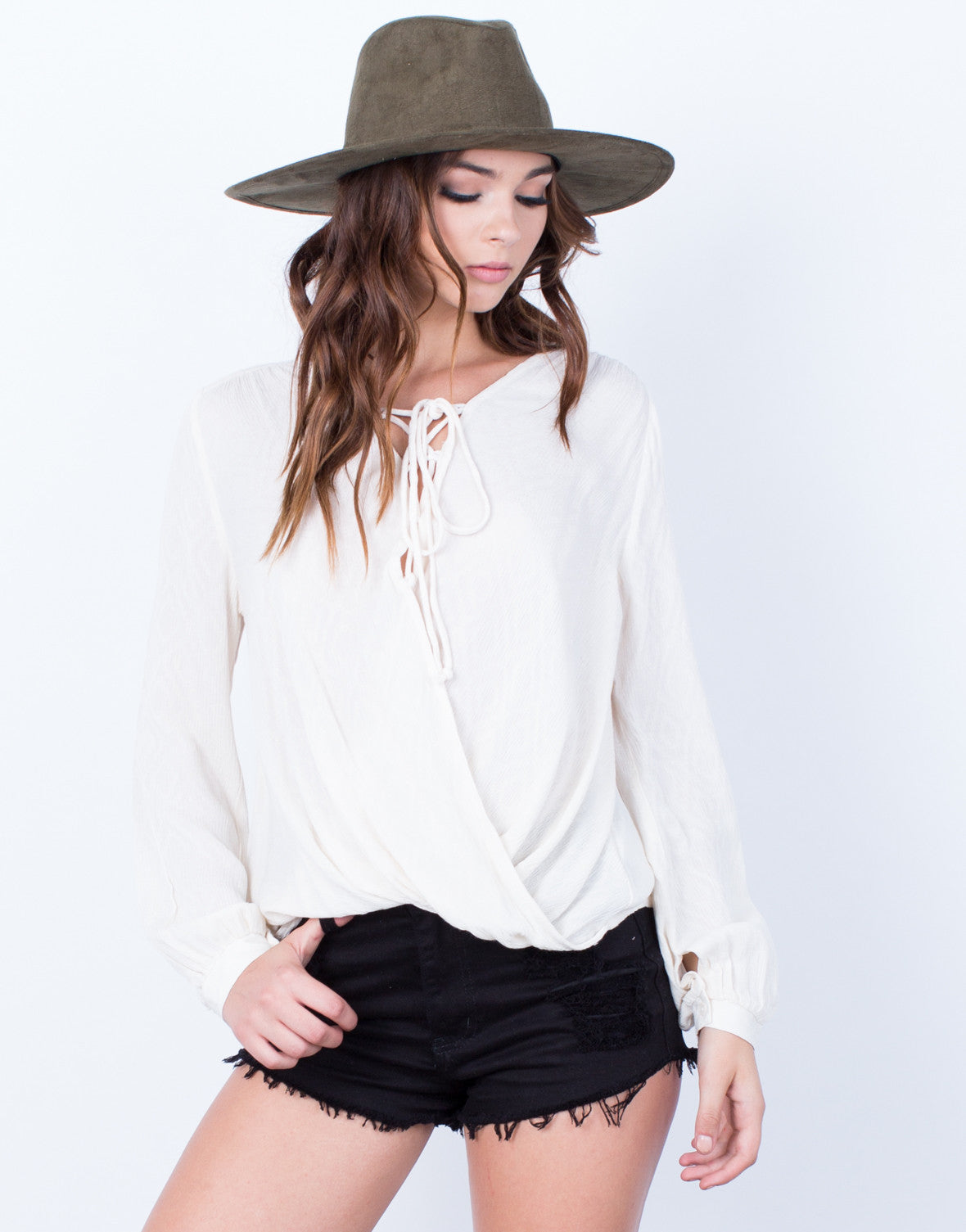 Front View of Laced Up Wrap Blouse