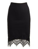 Lace Detail Bodycon Skirt - Black - Large - 2020AVE