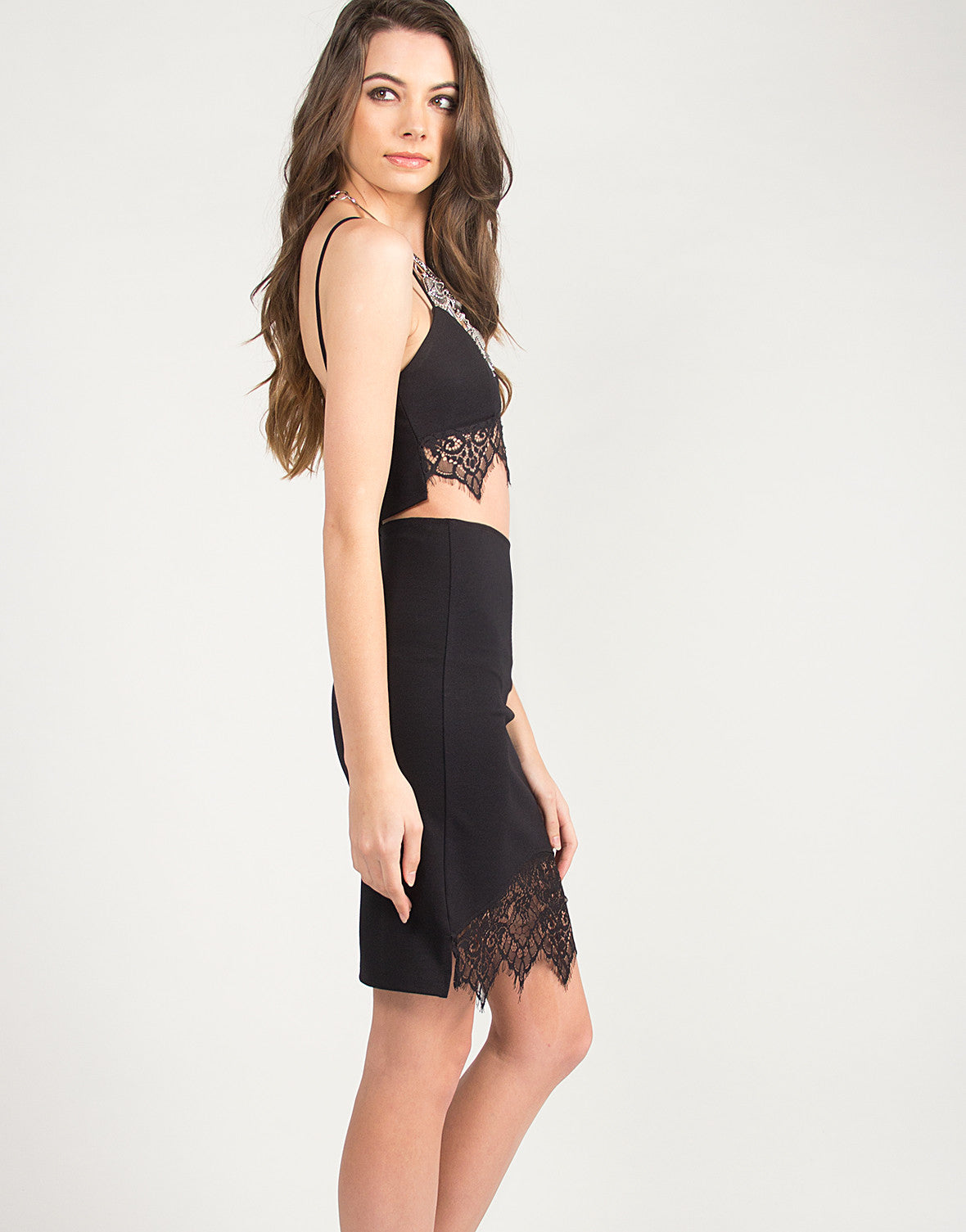 Lace Detail Bodycon Skirt - Black - Large