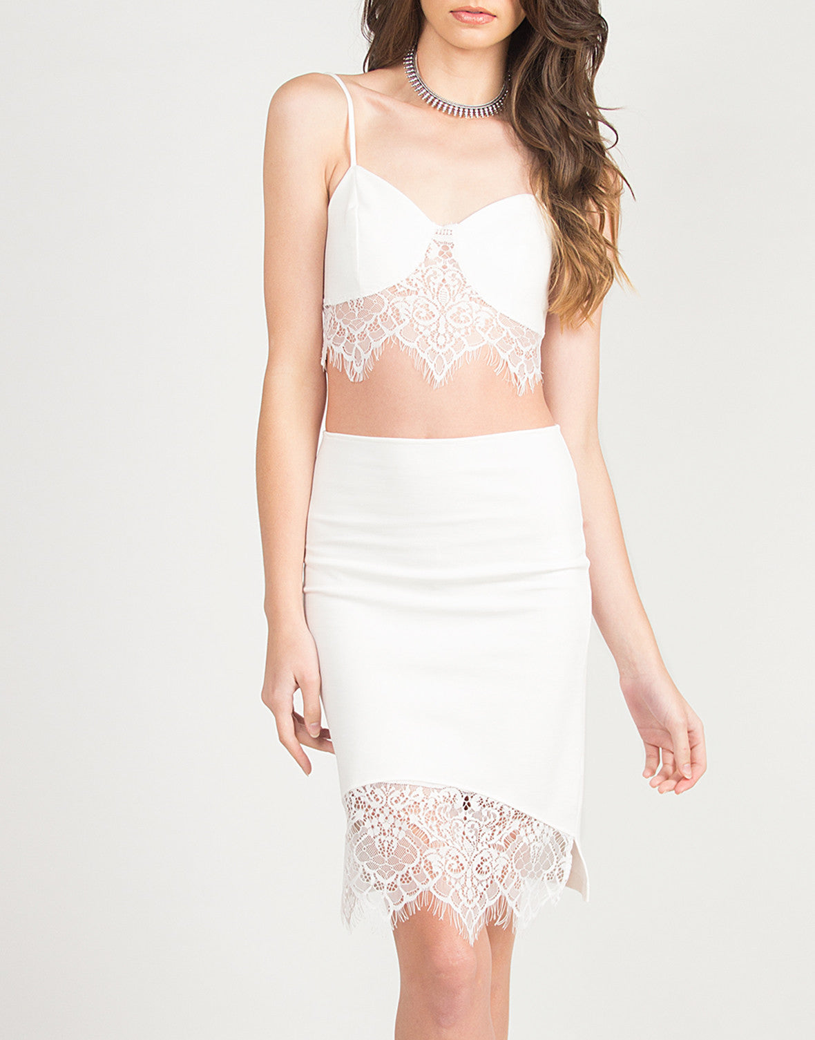 Lace Detail Bodycon Skirt - Ivory