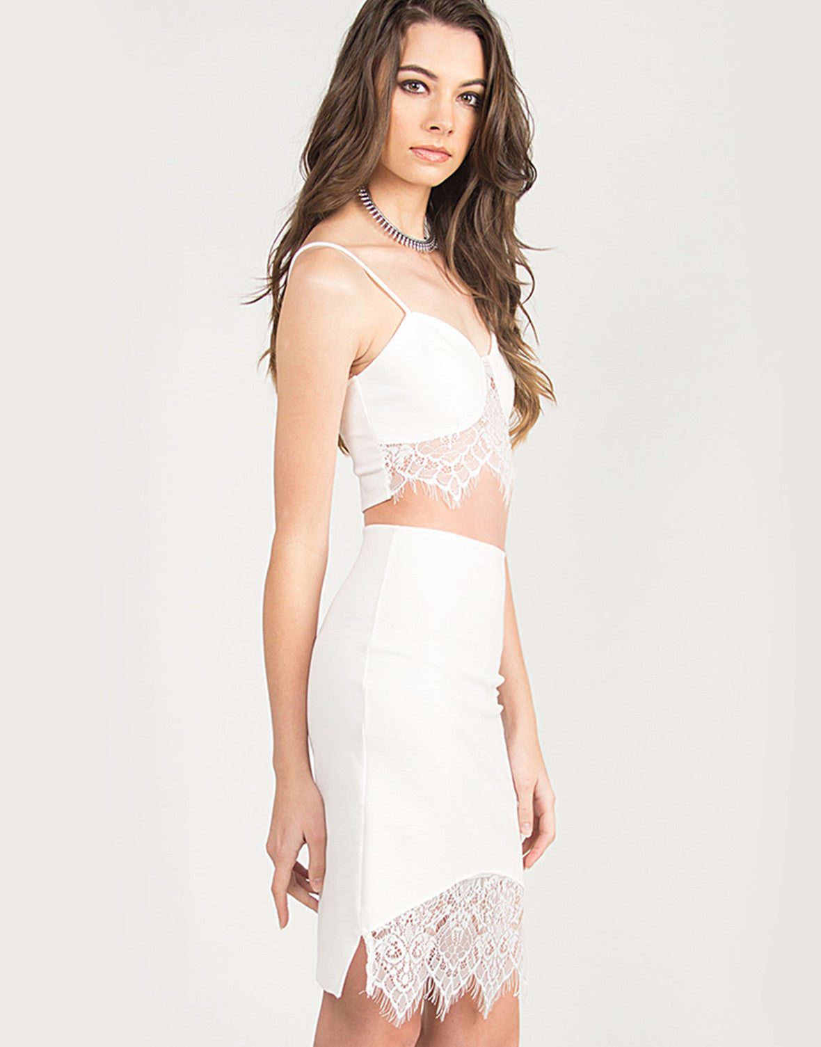 Lace Detail Bodycon Skirt - Ivory - 2020AVE