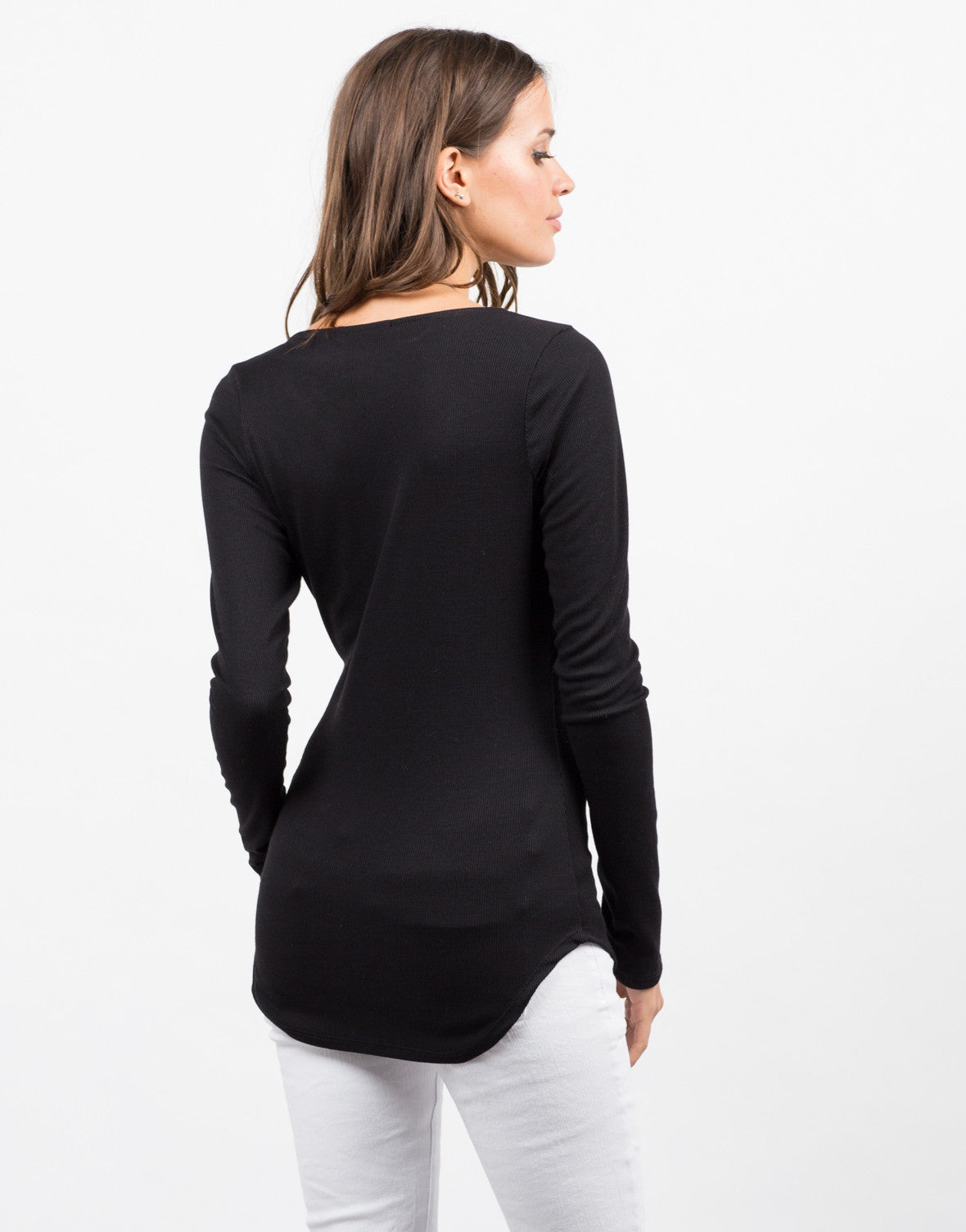 Back View of Laced Up Ribbed Top