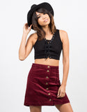 Front View of Lace It Up Crop Top
