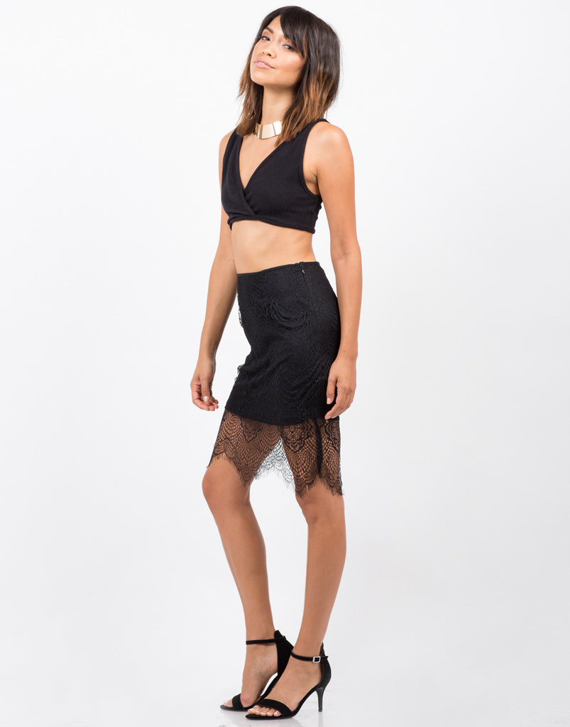 Lace Overlay Skirt - 2020AVE