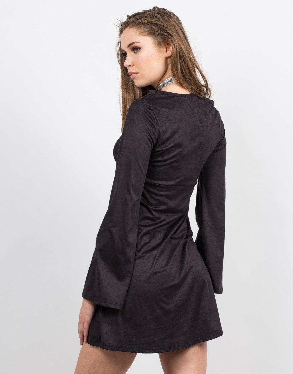 Back View of Lace Up and Suede Dress