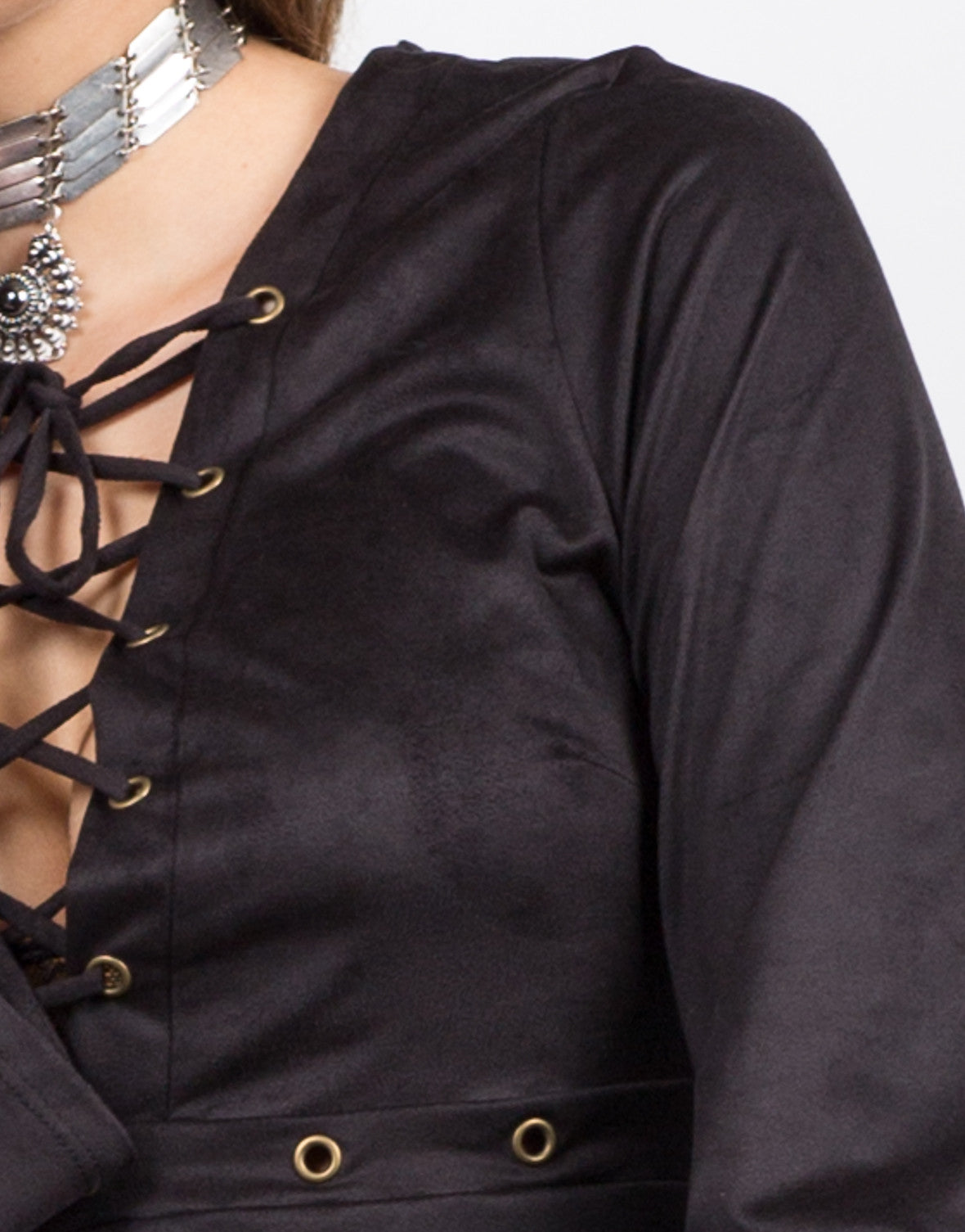 Detail of Lace Up and Suede Dress