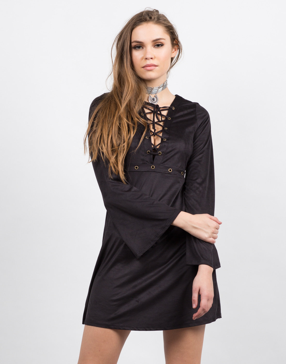 Front View of Lace Up and Suede Dress