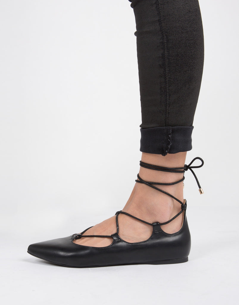 Lace-Up Ballerina Flats - 2020AVE