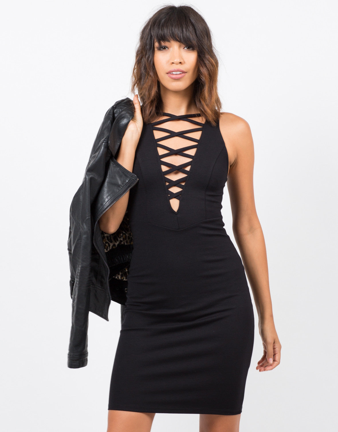 Front View of Lace-Up Bodycon Dress