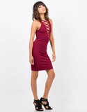 Side View of Lace-Up Bodycon Dress