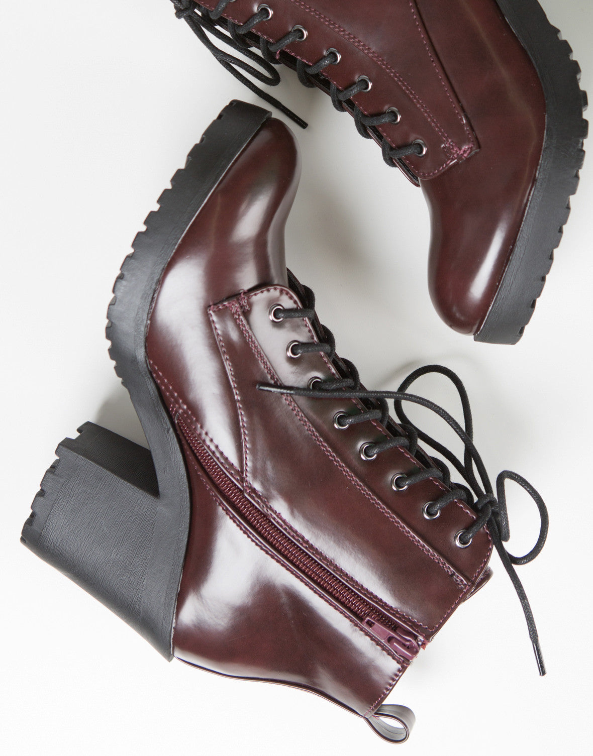 Lace-Up Contrast Boots