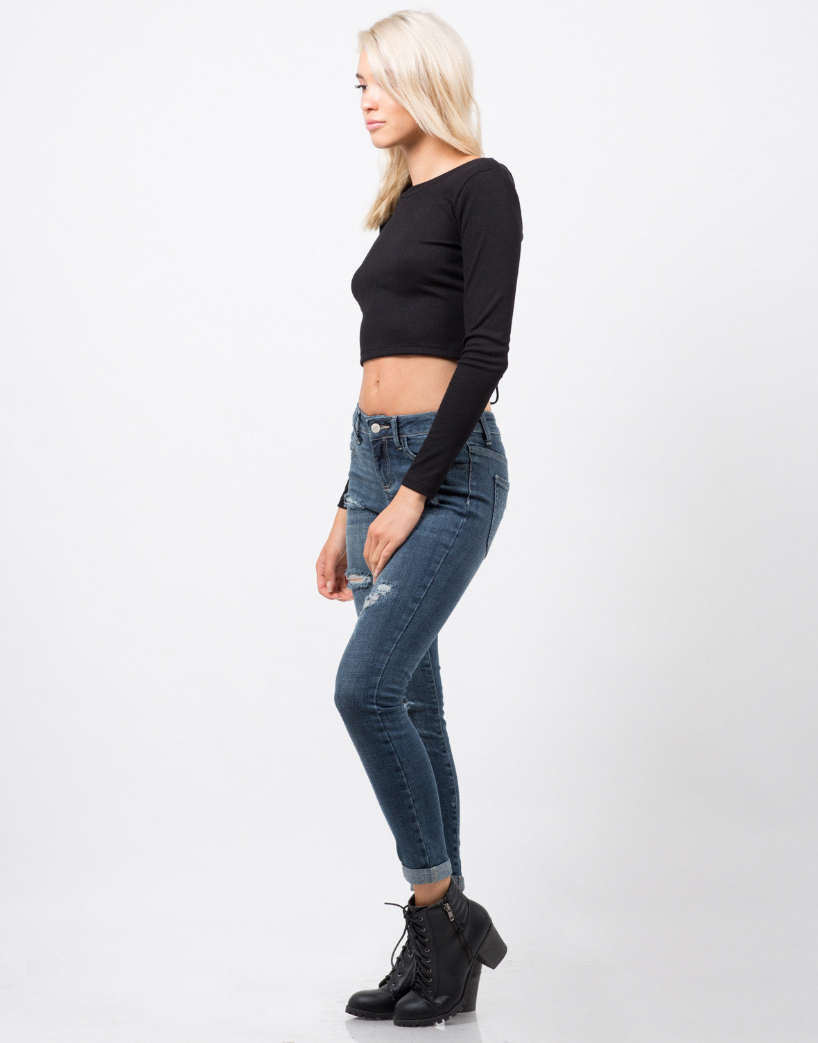 Side View of Lace-Up Crop Top